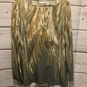Susan graver large tan gray pattern shirt 1865